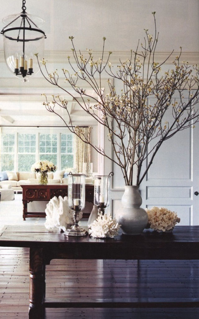 large bunch of branches in a vase